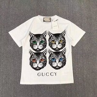 """Gucci"" Women Casual Fashion Four Cat Head Pattern Letter Print Short Sleeve T-shirt Top Tee"