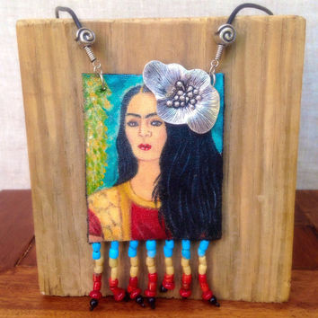 Frida Kahlo Hand Painted Necklace, Frida Kahlo Necklace, Handmade Necklace, Beaded Necklace, Art Necklace,