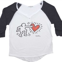 Keith Haring Heart Women's Raglan Shirt by Junk Food available at OldSchoolTees.com