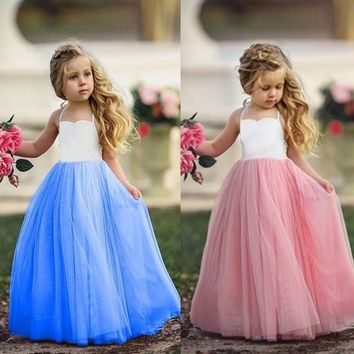 Girls Princess Party Wedding Bridesmaid Tutu Dress Children Photograph Dress