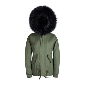 Raccoon Fur Collar Parka Jacket Green Base Black Fur