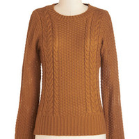 ModCloth 50s Mid-length Long Sleeve Well Begun is Half Spun Sweater in Spice
