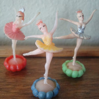 Vintage Ballerina Cupcake Plastic Toppers Lot of 3