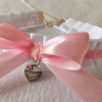 PRINCESS Cosplay Frilly White Pink Ruffled Anime Choker Cat Collar Necklace BDSM Slave Kitty Neko Kawaii Costume Sexy Christmas Age Play
