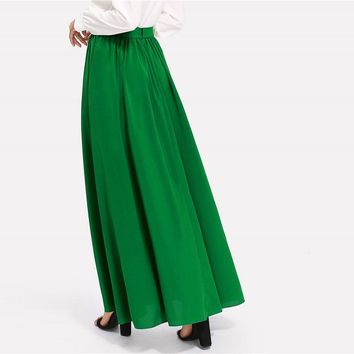 Women Casual Mid Waist Oversized Maxi Skirt Spring Plain Long Skirt