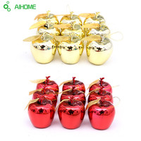 12Pcs/bag Red Golden Apples Christmas Tree Decorations New Year Party Events Fruit Pendant Christmas Apples Hanging Ornament