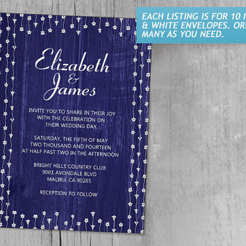 Royal Blue Rustic Country Barn Wood Wedding Invitations | Invites | Invitation Cards