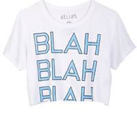 Blah Blah Blah Crop Tee - White