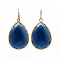 Royal Blue Gemstone Gold Drop Earrings