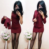 Spring Autumn Suits Sexy Sheath O-Neck Above Knee Mini Dress Full Sleeve Casual Coat Two Pieces Women Sets