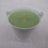 Handmade Scented Creme Candle, Cucumber Melon in Bucket Candle Holder
