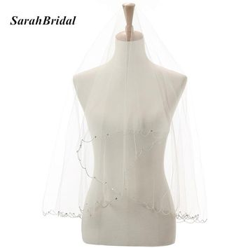 New Cheap In Stock White Beaded Bridal Wedding Veil with Sequined Women 1.5M Wedding Accessorie Fast Shipping 11052WT-A