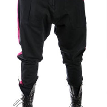 Black with Pink Nappytabs Harem Zipper Tux Pants at Threader® Streetwear, Hip Hop Clothing, and Urban Clothing