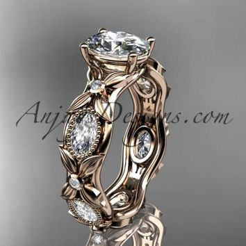 "14kt rose gold diamond leaf and vine wedding ring, engagement ring with a ""Forever One"" Moissanite center stone ADLR152"