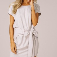 Tie Waist Knit Dress - Gray