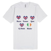 My heart belongs to these boys...-Unisex White T-Shirt