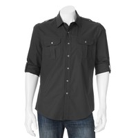 Apt. 9 Modern-Fit Solid Roll-Tab Casual Button-Down Shirt