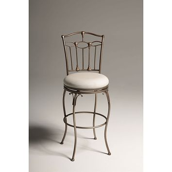 Brushed Bronze 30-inch Metal Bar Stool with Ivory Linen Fabric Swivel Seat