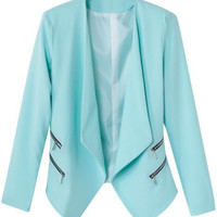 Mint Green Zippered Notched Collar Blazer
