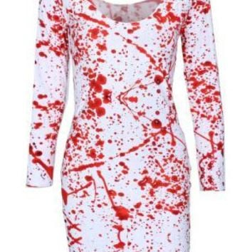 X-273 Fashion 2015 Autumn Brand Dress BLOOD SPLATTER BIG Print Dress Punk Sexy Dress Vestidos Casual Drop Shipping
