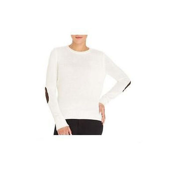 Faded Glory Women's Crew Neck Sweater W/Elbow Patch, Tusk, Large