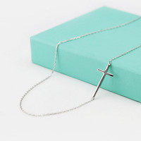 New Arrival Gift Shiny Jewelry 925 Silver Simple Design Cross Rack Pendant Accessory Stylish Necklace(With Thanksgiving&Christmas Gift Box) [8080527687]