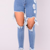 Heather High Rise Jeans - Medium Blue