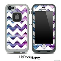 Washed Pink and Blue Wood with White Chevron Pattern Skin for the iPhone 5 or 4/4s LifeProof Case