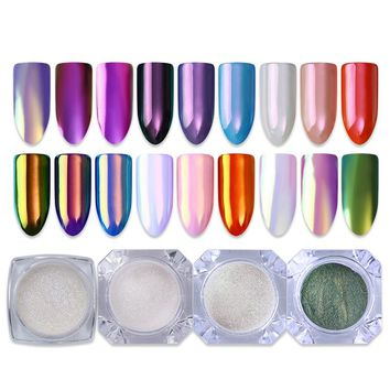 4 Box/set Neon Powder Chameleon Purple Mermaid Mirror Nail Powder AB Color Chrome Pigment Glitters Nail Art Dust Powder