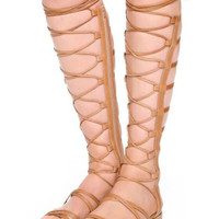 Brown Lace Up Gladiator Flat Sandals