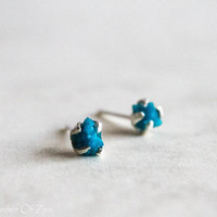 Cavansite cluster studs blue raw stud earrings - sterling silver organic studs - Very RARE