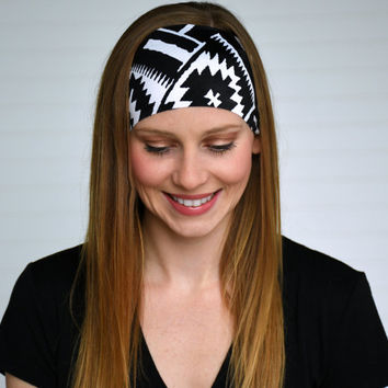 Black and white yoga headband, Workout headband, Running headband, Womens wide boho headband, Ladies stretch fabric headwrap,