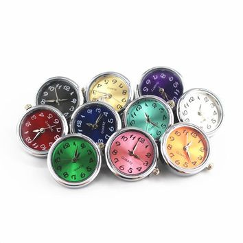 Mixs 10pcs/lot Glass Watch Snap Buttons Charms Fit 18mm/20mm DIY Snap Bracelet Replaceable Buttons DIY Jewelry
