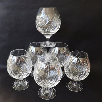 Cut Crystal Cognac Glasses, Brandy Snifter Balloons 6 Available Royal Doulton Cleveland Goblet, Man Gift Quality Stemware, Barware