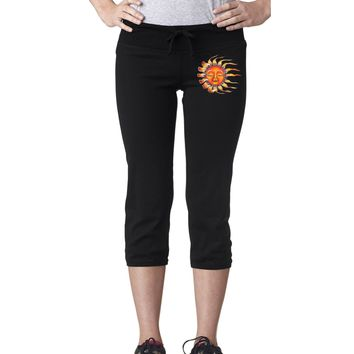 Yoga Clothing for You Womens Sleeping Sun Sign Fitness Capri Pants