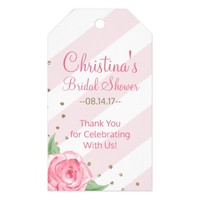 Floral Bridal Shower Favor Gift Tags Gold and Pink