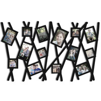 Adeco Decorative Black Wood Wall Hanging Collage Picture Photo Frame, Abstract Bushes, 14 Openings, Various Sizes