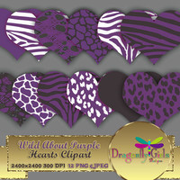"80% OFF Sale WILD About Purple Hearts 8"" clip art  digital paper, commercial use, scrapbook papers, background, Zebra Leopard Animal Print"