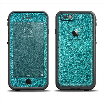 The Teal Glitter Ultra Metallic Skin Set for the Apple iPhone 6 LifeProof Fre Case