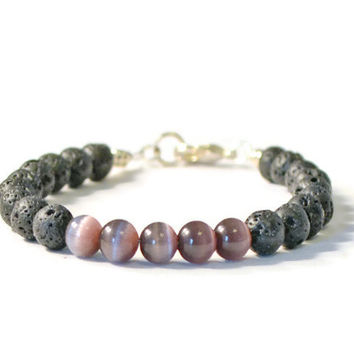 Amethyst Cat's Eye & Lava Stone Aromatherapy Bracelet, Essential Oil Diffusing Jewelry
