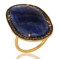 18K Yellow Gold Sterling Silver Pave Diamond And Blue Sapphire Cocktail Ring