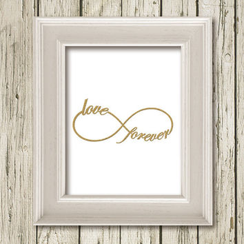 INFINITY  Love Forever Symbol Love White Gold Print Printable Instant Download Art Print Wall Art Home Decor G090white