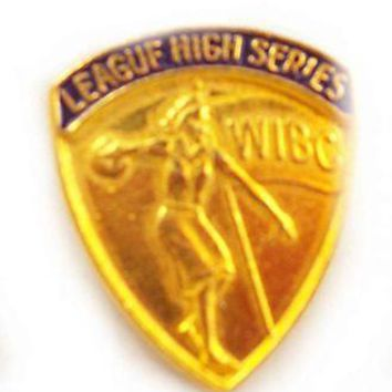 Vintage Pin WIBC Womens Bowling High Series 1950S