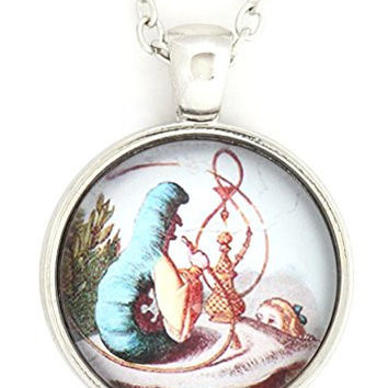 Hookah Smoking Caterpillar Necklace Silver Tone NV22 Alice in Wonderland Art Illustration Fashion Pendant