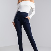 High Rise Pocket Zip Up Tapered Pants in Light Grey, Sky Blue