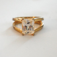 Vintage 18K GF Faux Diamond Ring, Costume Jewelry, Size 8