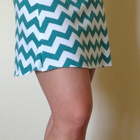 Teal and white Chevron skirt, summer skirt, chevron maxi skirt, skirt, maternity skirt, short skirt