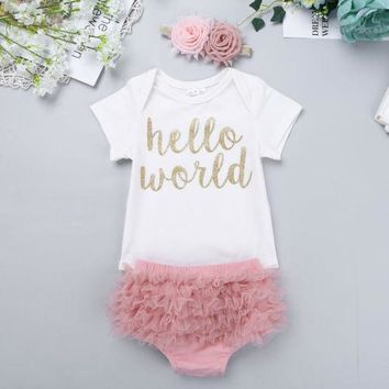 Newborn 3PCS Baby Girl Hello World Romper Jumpsuit + Shorts Pants Outfits Pink