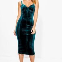 Davie Velvet Seam Midi Bodycon Dress