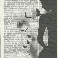 Book Print Silhouette Mystery Woman & Butterflies on Vintage Upcycle Book Page Print Art Print Dictionary Print Collage Print
